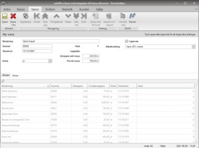 Skapa nya eller ändra befintliga artiklar direkt i JobOffice Kassa med Visma eEkonomi